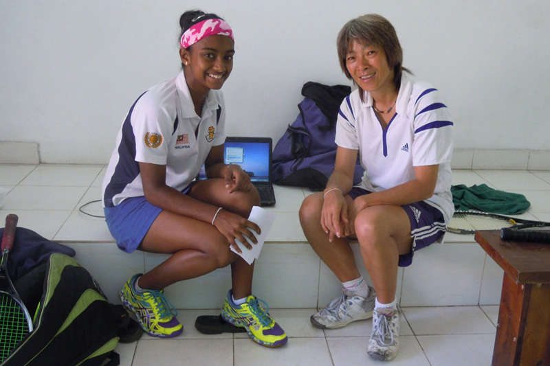 Karen with Methsarani, young aspiring squash talent